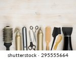 Hairdressing Tools On Wooden...