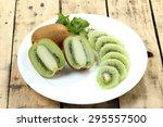 Close Up Kiwi Fruit Slice On...
