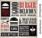 vintage burger menu  | Shutterstock .eps vector #295560338