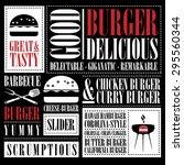 vintage burger menu  | Shutterstock .eps vector #295560344