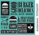 vintage burger menu  | Shutterstock .eps vector #295560359