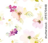 watercolor flowers. seamless... | Shutterstock .eps vector #295570448