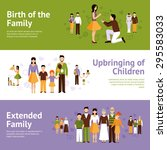 family horizontal banner set... | Shutterstock .eps vector #295583033
