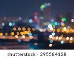 blur of city lights at night ...   Shutterstock . vector #295584128