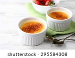 Creme Brulee Dessert With Fres...