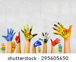 image of human hands in... | Shutterstock . vector #295605650