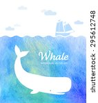 whale illustration under the... | Shutterstock .eps vector #295612748