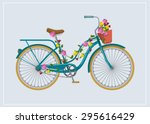 Bike With Flowers. Vector Flat...