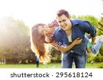 lifestyle  happy couple of two...   Shutterstock . vector #295618124