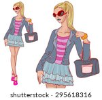 sexy fashion young woman with... | Shutterstock .eps vector #295618316