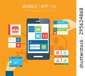mobile app and ui element flat...