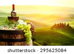 red wine with barrel on... | Shutterstock . vector #295625084