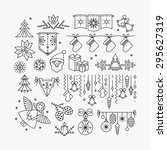 set of line christmas icons and ... | Shutterstock .eps vector #295627319