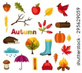 autumn icon and objects set for ... | Shutterstock .eps vector #295629059
