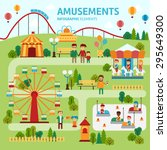 amusement park map infographic... | Shutterstock .eps vector #295649300