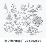 tea mono line elements for menu ... | Shutterstock .eps vector #295652699