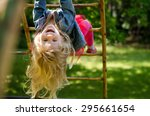 beautiful blond girl with long...   Shutterstock . vector #295661654