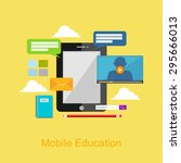 mobile education illustration. | Shutterstock .eps vector #295666013