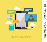 mobile education illustration. | Shutterstock .eps vector #295666013