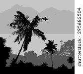 Gray Tropical Landscape Scener...