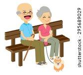 cute senior couple sitting on... | Shutterstock .eps vector #295689029