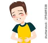 little boy kid touching his... | Shutterstock .eps vector #295689338