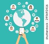 mobile connection social media...   Shutterstock .eps vector #295692416