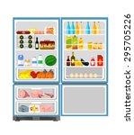 fridge full of food. vector... | Shutterstock .eps vector #295705226