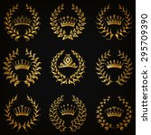 set of luxury gold labels ... | Shutterstock .eps vector #295709390