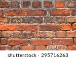 Small photo of Red brick wall with old and weathered tiles for grunge background