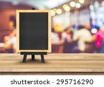 blackboard menu with easel on... | Shutterstock . vector #295716290