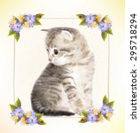 vintage postcard with kitten. ... | Shutterstock .eps vector #295718294