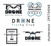vector set of drone labels ... | Shutterstock .eps vector #295734068