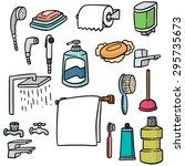 vector set of bathroom equipment | Shutterstock .eps vector #295735673