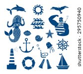 hand drawn sea icons cartoon... | Shutterstock .eps vector #295750940