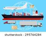 deliver cargo web design icons. ... | Shutterstock .eps vector #295764284
