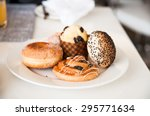 fresh buns on plate | Shutterstock . vector #295771634