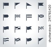 vector black flag icon set on... | Shutterstock .eps vector #295781420