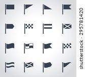vector black flag icon set on... | Shutterstock .eps vector #295781420