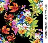 garden floral watercolor...   Shutterstock .eps vector #295796258