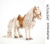 cute saddled little pony horse... | Shutterstock .eps vector #295797179