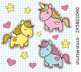 set collection of cute kawaii... | Shutterstock .eps vector #295801040
