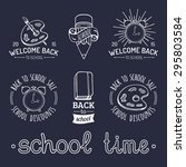 vector set of vintage back to... | Shutterstock .eps vector #295803584
