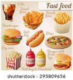 fast food. set of cartoon... | Shutterstock .eps vector #295809656