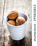 pecan nuts in a bucket on a... | Shutterstock . vector #295820813