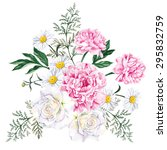 large bouquet of peonies  roses ... | Shutterstock .eps vector #295832759