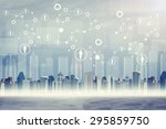 cityscape on abstract virtual... | Shutterstock . vector #295859750