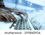 double exposure of businessman... | Shutterstock . vector #295860926