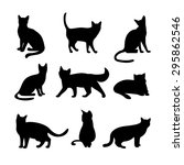 cats silhouettes. animal and... | Shutterstock . vector #295862546