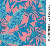vector seamless tropical floral ... | Shutterstock .eps vector #295867280
